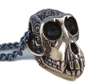 "Monkey Necklace Bronze Monkey Skull Pendant Necklace on 24"" Gunmetal Chain"