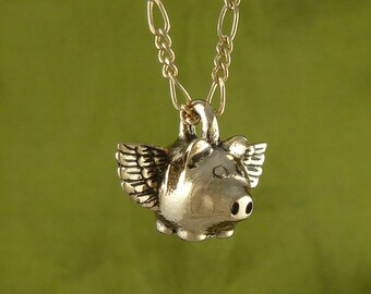 "Flying Pig Necklace Bronze Flying Pig Pendant on 18"" Gold Plated Filigree Chain"