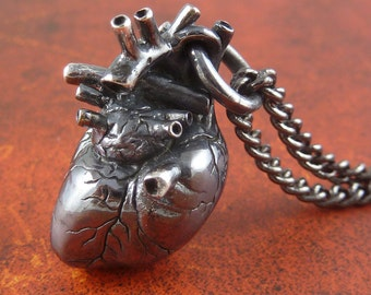"Sterling Silver Anatomical Heart Necklace - Oxidized .925 Anatomical Heart Pendant on 24"" Gunmetal Chain - Black Heart"