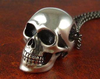 "Halloween Skull Necklace - Antique Silver Anatomical Human Skull Pendant on 24"" Gunmetal Chain"