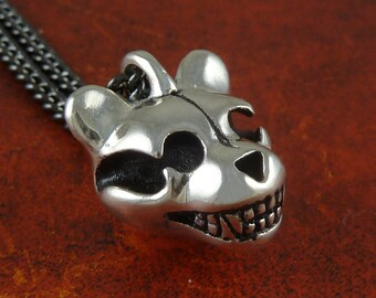 "Teddy Bear Jewelry Antique Silver Teddy Bear Skull Pendant on 24"" Gunmetal Chain"
