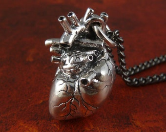"Anatomical Heart Necklace Sterling Silver .925 Anatomical Heart Pendant on 24"" Gunmetal Chain"