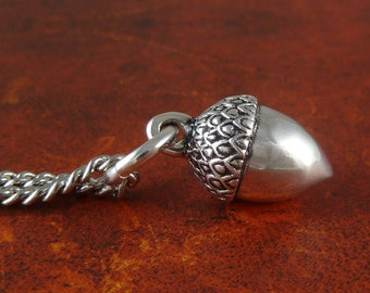 "Acorn Necklace Antique Silver Acorn Pendant on 24"" Antique Silver Chain"