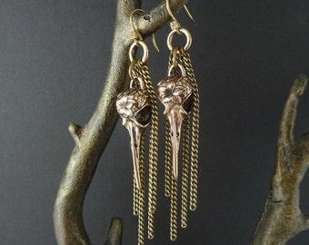 Dangle Earrings - Hummingbird Earrings Bronze Bird Skull with Antique Bronze Chains - Hummingbird Skull