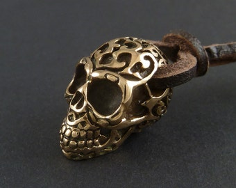 Skull Pendant Necklace with Tribal Day of the Dead Design - Bronze Skull on Leather
