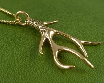 """Antler Necklace Bronze Antler Pendant on 24"""" Gold Plated Chain - Deer Jewelry"""