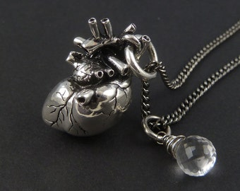 "Anatomical Heart Necklace with Sterling Silver Wire Wrapped Quartz - Antique Silver Anatomical Heart Pendant on 24"" Gunmetal Chain"