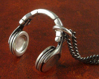 "Headphones Necklace Antique Silver Headphones Pendant on 24"" Gunmetal Chain"