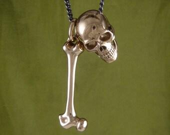 """Skull & Femur Bone Necklace Bronze Human Skull and Bone Pendant on 24"""" Gunmetal Chain - Skeleton Necklace"""