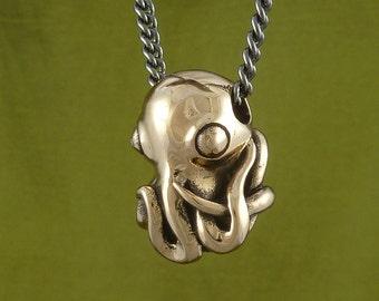 "Octopus Necklace Bronze Octopus Pendant on 24"" Gunmetal Chain - Octopus Jewelry"