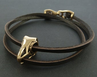 Bird Skull Bracelet Bronze Eagle Skull Leather Bracelet