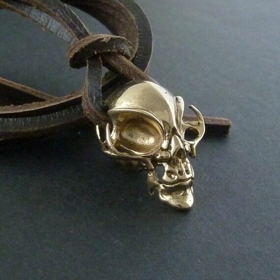 Alien Skull Necklace Alien Necklace Bronze Alien Skull Pendant on Leather