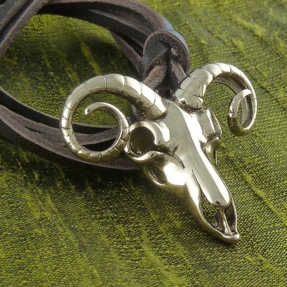 Ram Skull Necklace Bronze Ram Skull Pendant on Leather