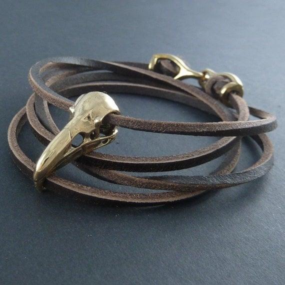 Bird Skull Bracelet Raven Skull Leather Bracelet - Bronze Skull on Leather Bracelet