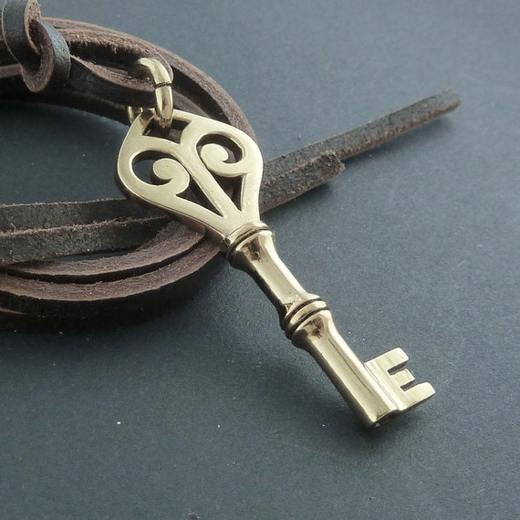 Key Necklace Bronze Key Pendant on Leather
