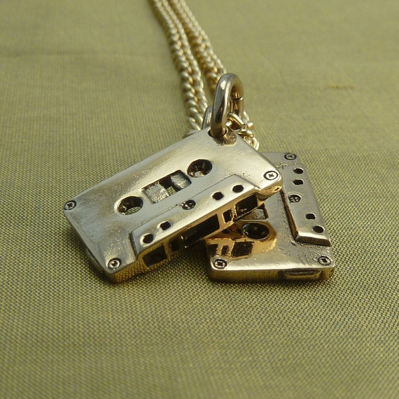 "Cassettes Necklace Bronze Cassette Pendant on 24"" Gold Plated Chain"