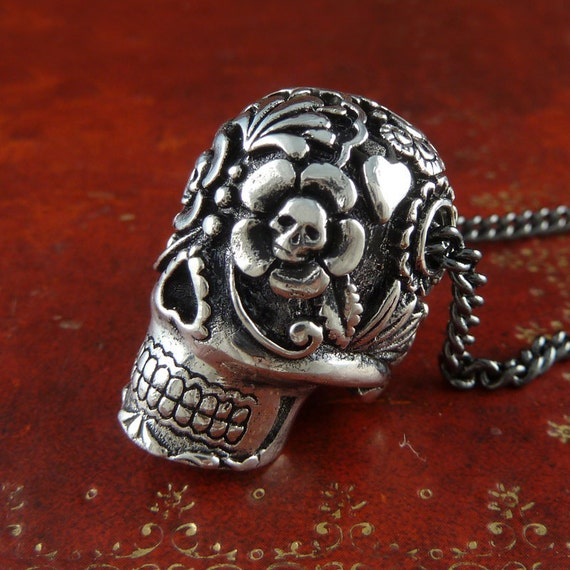 "Sugar Skull Necklace Antique Silver Sugar Skull Pendant Necklace on 24"" Gunmetal Chain"