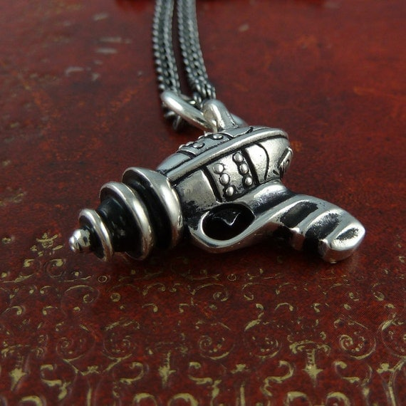 "Steampunk Gun Necklace Antique Silver Sci Fi Ray Gun on 24"" Gunmetal Chain"
