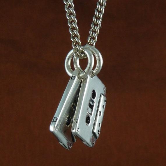 """Cassette Tape Necklace Antique Silver Cassettes on 24"""" Antique Silver Chain"""