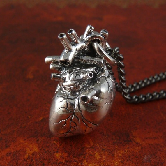 """Anatomical Heart Necklace Sterling Silver .925 Anatomical Heart Pendant on 24"""" Gunmetal Chain"""
