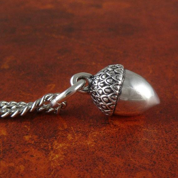 """Acorn Necklace Antique Silver Acorn Pendant on 24"""" Antique Silver Chain"""