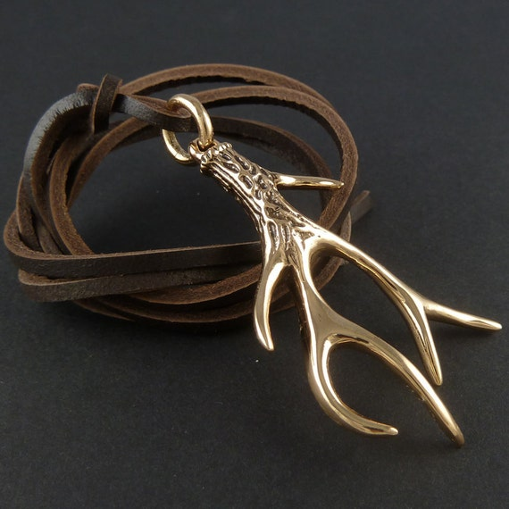 Antler Necklace Bronze Antler Pendant on Leather - Deer Necklace