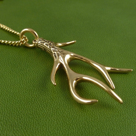 "Antler Necklace Bronze Antler Pendant on 24"" Gold Plated Chain - Deer Jewelry"