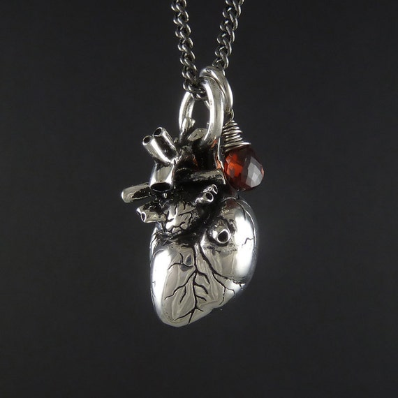 """Valentine Necklace - Anatomical Heart Necklace with Sterling Silver Wire Wrapped Garnet - Anatomical Heart Pendant on 24"""" Gunmetal Chain"""