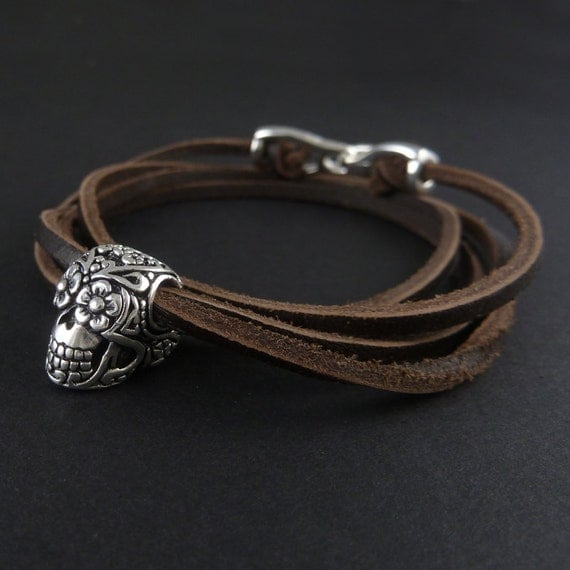 Day of the Dead Bracelet Antique Silver Day of the Dead Leather Bracelet