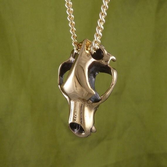 "Cave Bear Skull Necklace Bronze Bear Skull Pendant on 24"" Gold Plated Chain"