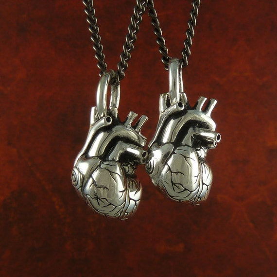 """Small Anatomical Heart Necklaces Two Antique Silver Small Anatomical Heart Pendants on 24"""" Gunmetal Chains"""