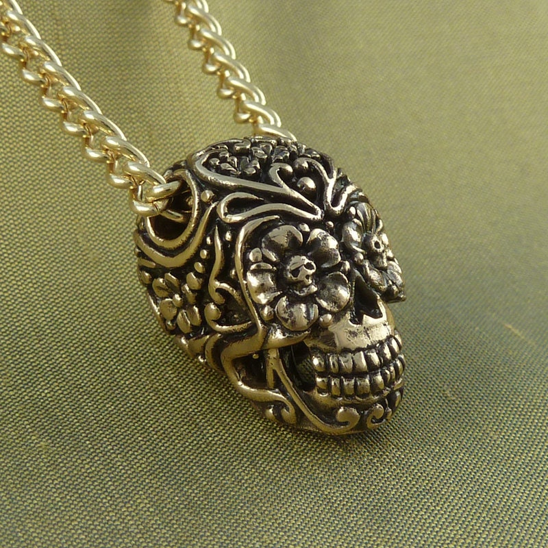 day of the dead necklace bronze sugar skull pendant on