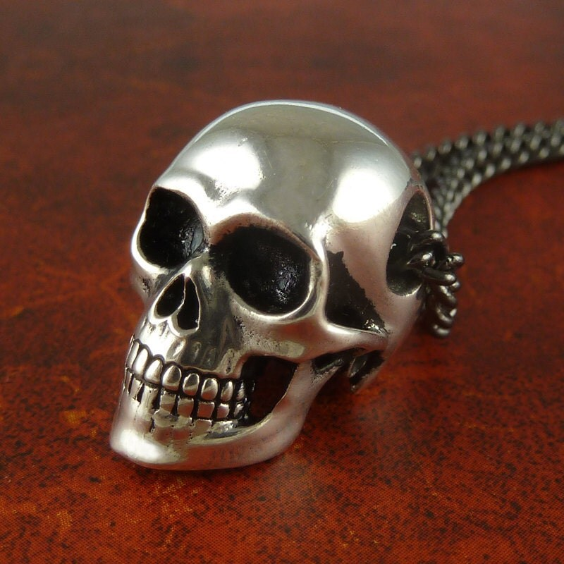 Halloween skull necklace antique silver anatomical human zoom mozeypictures Images