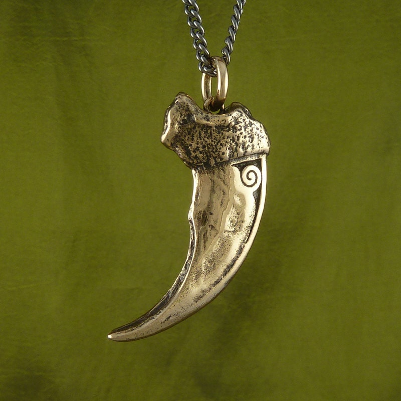 Bear Claw Necklace Bronze Bear Claw Pendant on 24