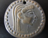 PENDANT :  Beautiful Terracotta Copy of the Macedonia Ancient Coin 480-510BC Pendant