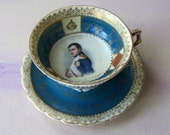 TEA CUP, SAUCER : Antique Napoleon Bonaparte Portrait rare Teacup and Saucer set by Edme Samson France 1845-1905  blue gold fine porcelain