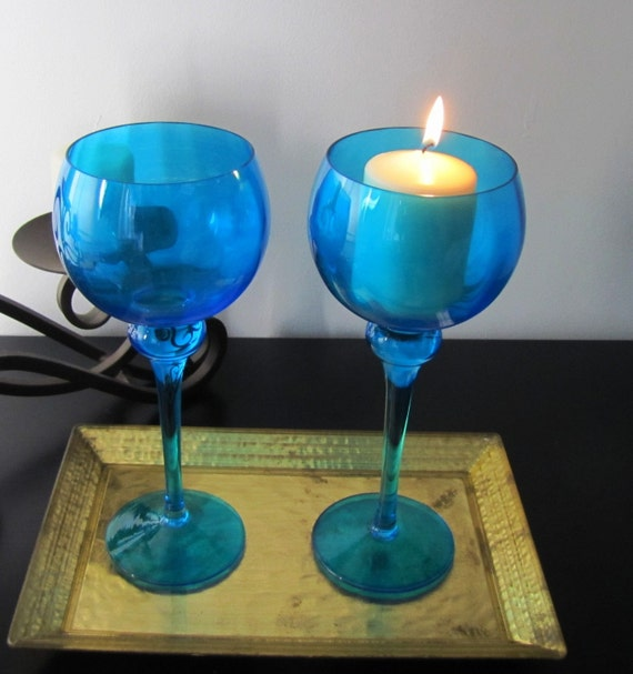WINE GLASSES : GORGEOUS Elegant  Vintage  True Blue Wine Glass Goblet That Can be Used as a Candle Holder . SeT of 2.