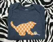 Calico Kitty Cat Sewn Applique Infant Long-sleeve Onesie