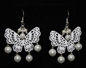 White Butterfly Earrings With Swarovski Pearls