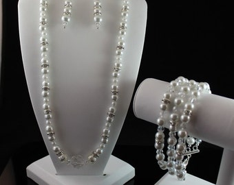 Bridal Bracelet, Earrings, and Necklace Set with Swarovski Pearls, Rhinestones and Crystals