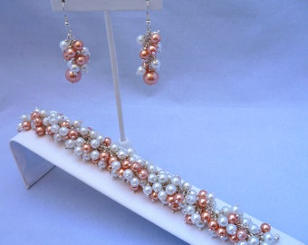 Bridal Bracelet and Earrings Jewelry Set with Peach and White Swarovski Pearls
