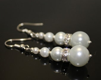 Bridal Swarovski Pearl Earrings with Rhinestone Spacers, Bridal Earrings, Bridesmaid Earrings, Jewelry