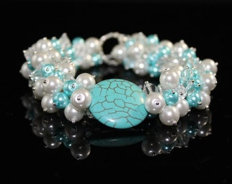 Turquoise and Swarovski Pearls and Crystals Cluster Bracelet