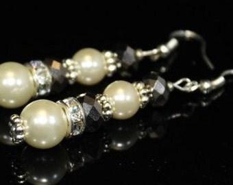 Cream Swarovski Pearls and Rhinestones Bridal Earrings
