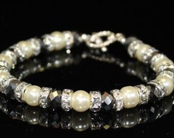Swarovski Pearl Bracelet With Clear Rhinestone Rondelles and Crystals, Bridal Bracelet, Bridesmaids Bracelet, Wedding Bracelet