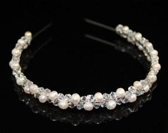 Bridal Pearl Headband Bridal Tiara Wedding Jewelry Bridal Head Piece Weddings Headband Freshwater Pearl Bridesmaid Headband