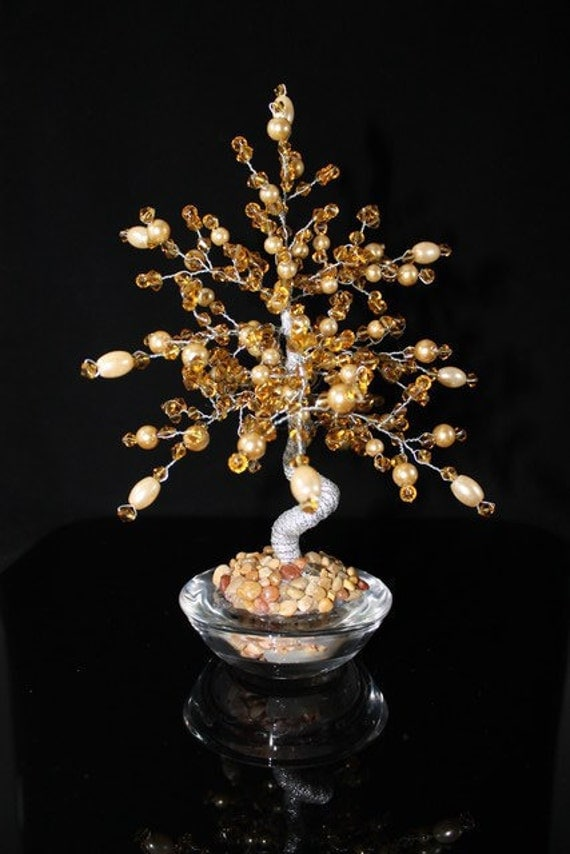 Wire Wrapped Tree Sculpture Paper Weight with Crystal Gold Swarovski Pearls and Crystals In Glass Holder
