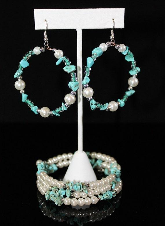 Adjustable Bracelet and Hoop Earrings Set with Turquoise and Swarovski Pearls