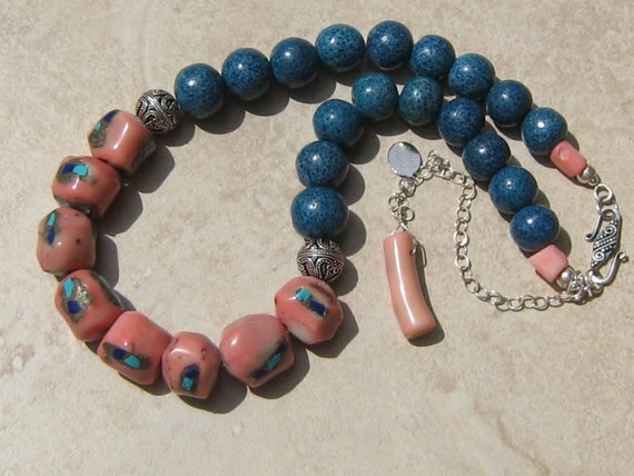 RESERVED FOR BLANCA A. Blue Lagoon - Curacao Necklace and Matching Earrings