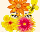Floral Illustration - Sultry eyes and surrounded by colorful flowers